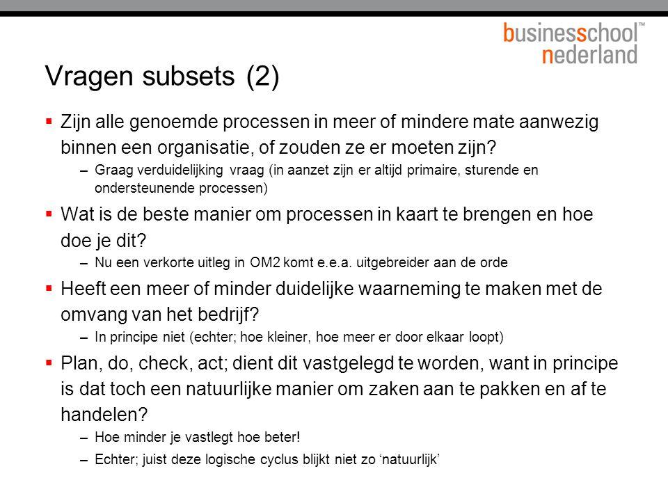 Vragen subsets (2) Zijn alle genoemde processen in meer of mindere mate aanwezig binnen een organisatie, of zouden ze er moeten zijn