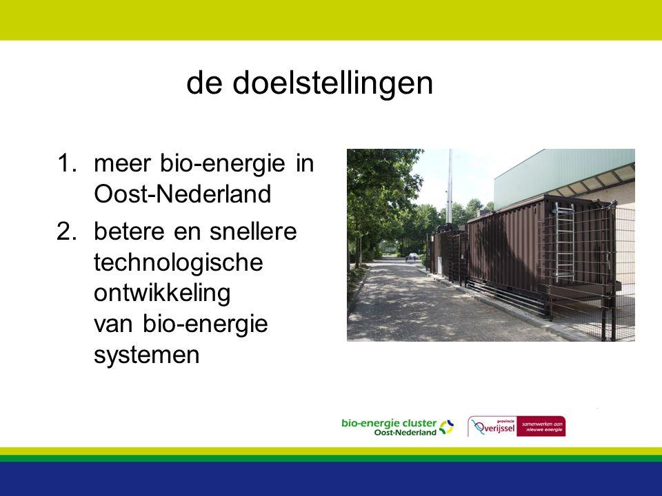 de doelstellingen meer bio-energie in Oost-Nederland