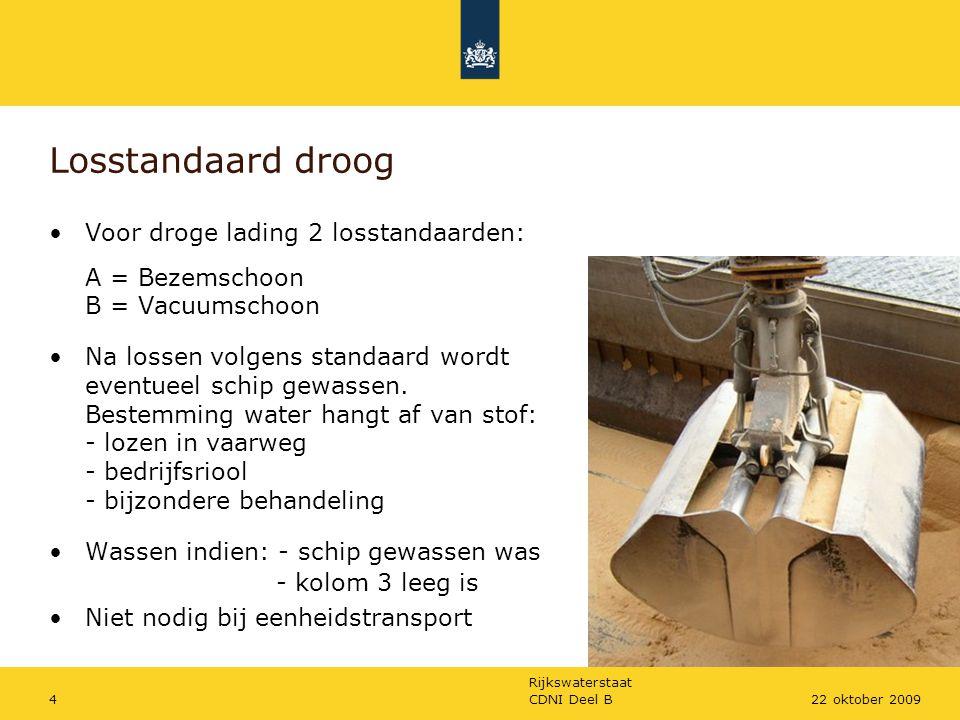 Losstandaard droog Voor droge lading 2 losstandaarden: A = Bezemschoon B = Vacuumschoon.
