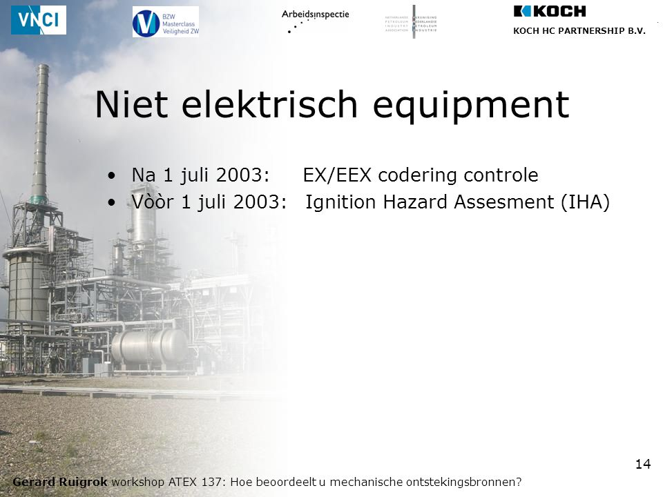 Niet elektrisch equipment