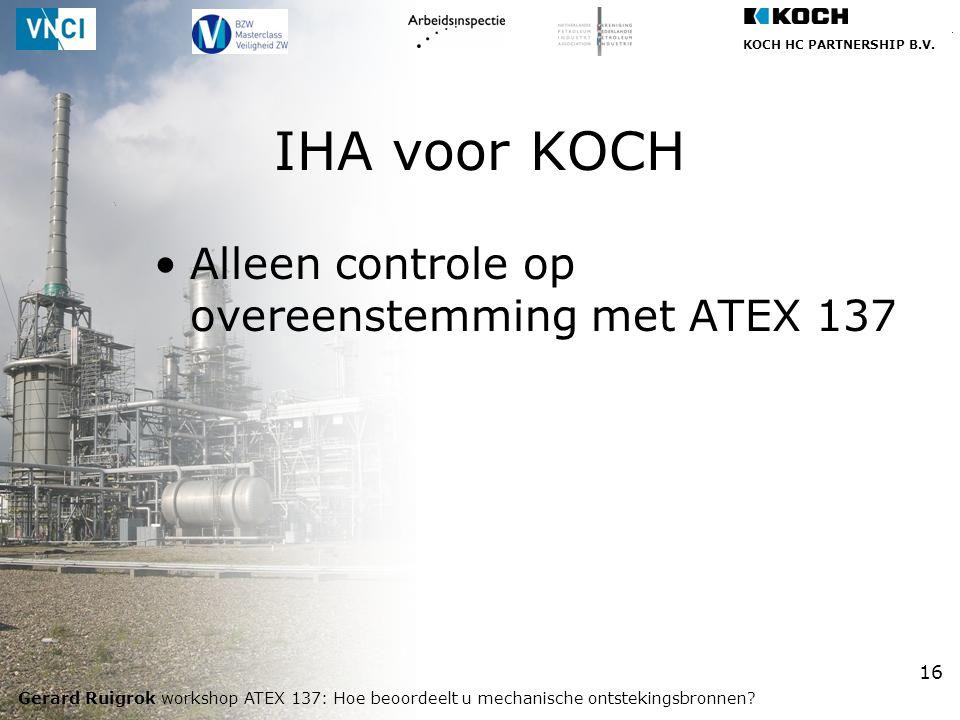 IHA voor KOCH Alleen controle op overeenstemming met ATEX 137