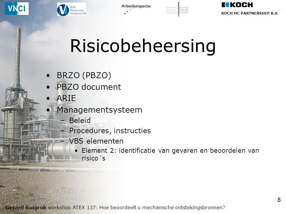 Risicobeheersing BRZO (PBZO) PBZO document ARIE Managementsysteem