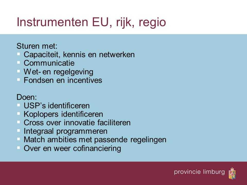 Instrumenten EU, rijk, regio