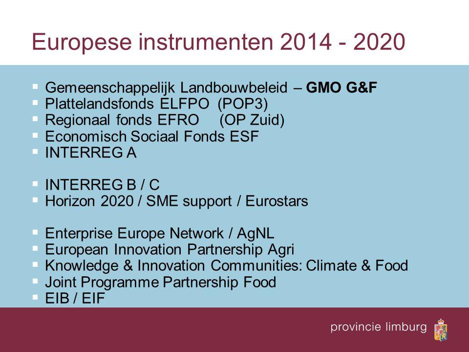 Europese instrumenten 2014 - 2020