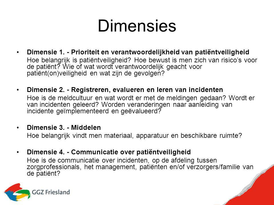 Dimensies Dimensie 1. - Prioriteit en verantwoordelijkheid van patiëntveiligheid.
