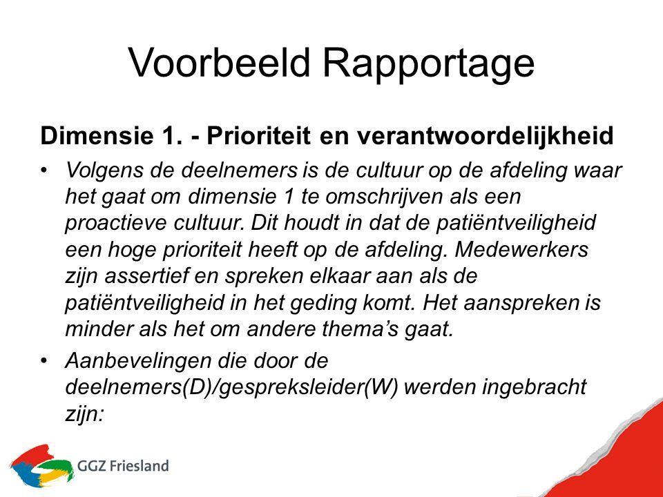 Voorbeeld Rapportage Dimensie 1. - Prioriteit en verantwoordelijkheid