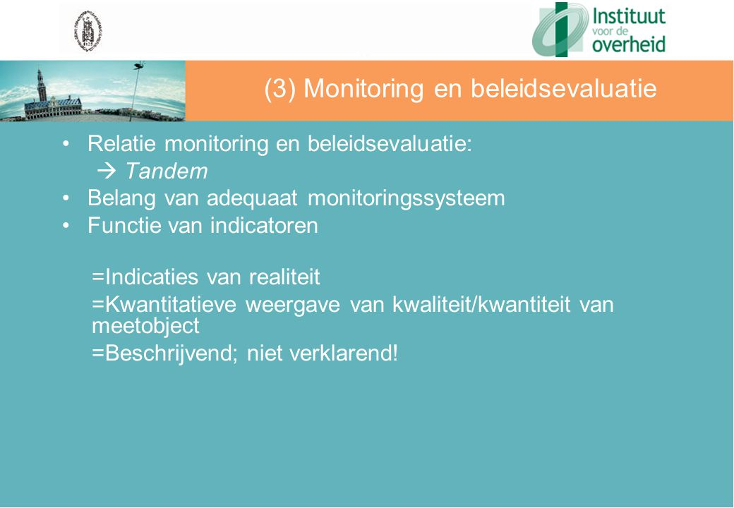 (3) Monitoring en beleidsevaluatie