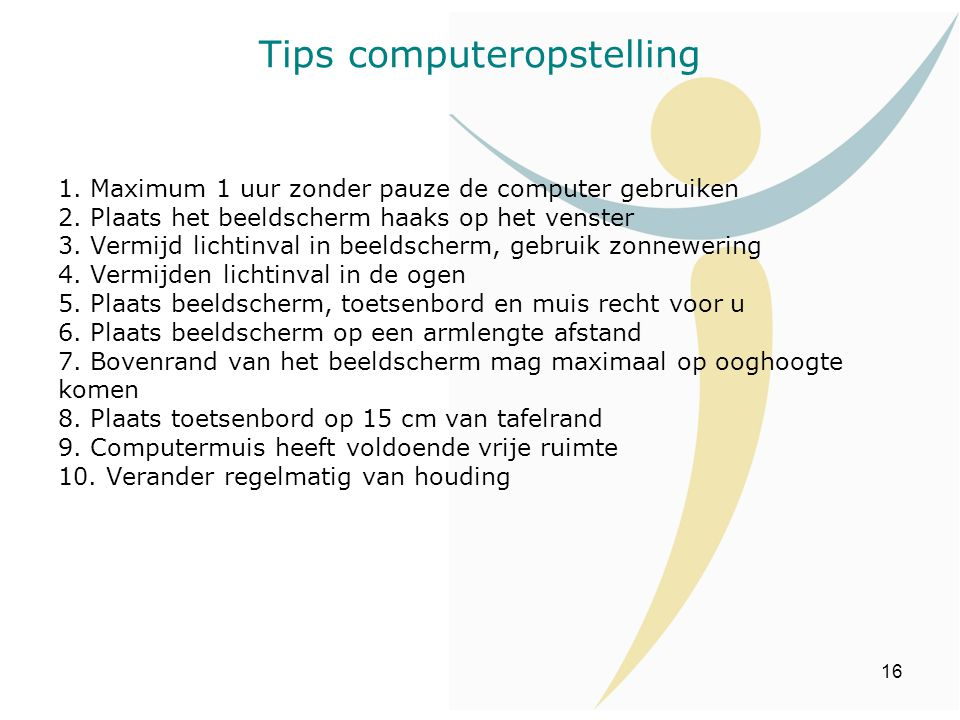 Tips computeropstelling