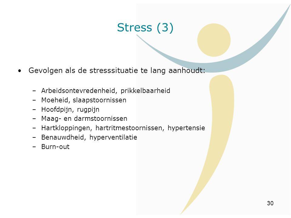 Stress (3) Gevolgen als de stresssituatie te lang aanhoudt: