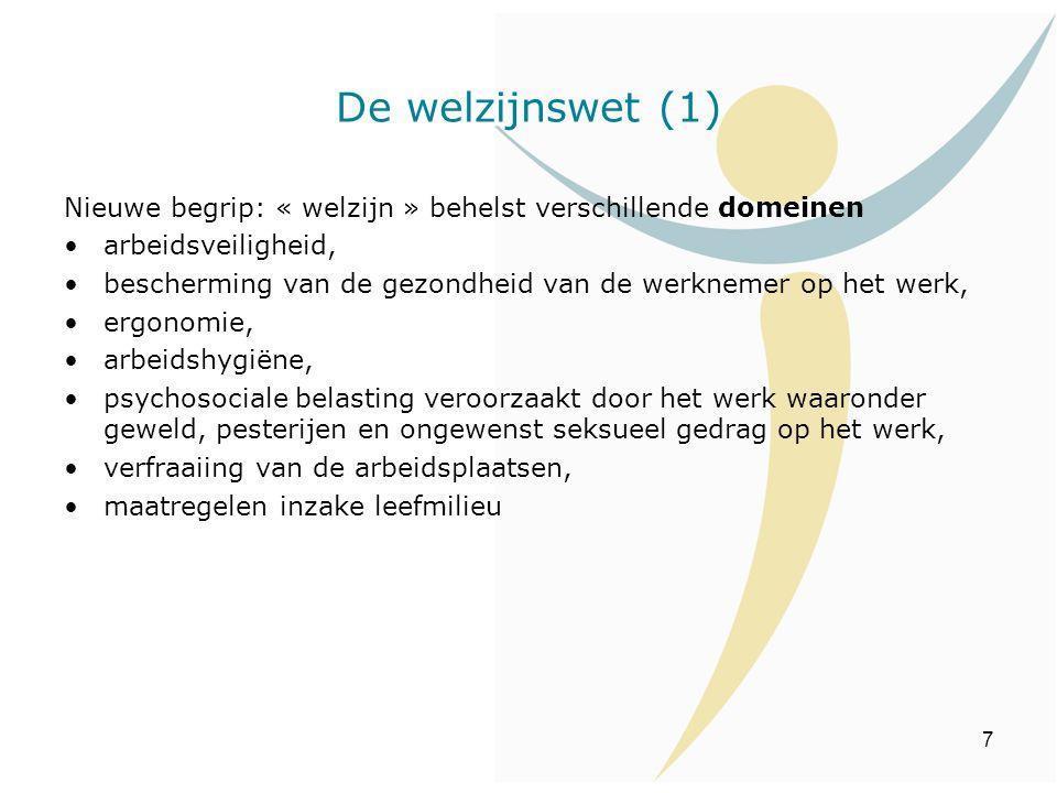 De welzijnswet (1) Nieuwe begrip: « welzijn » behelst verschillende domeinen. arbeidsveiligheid,