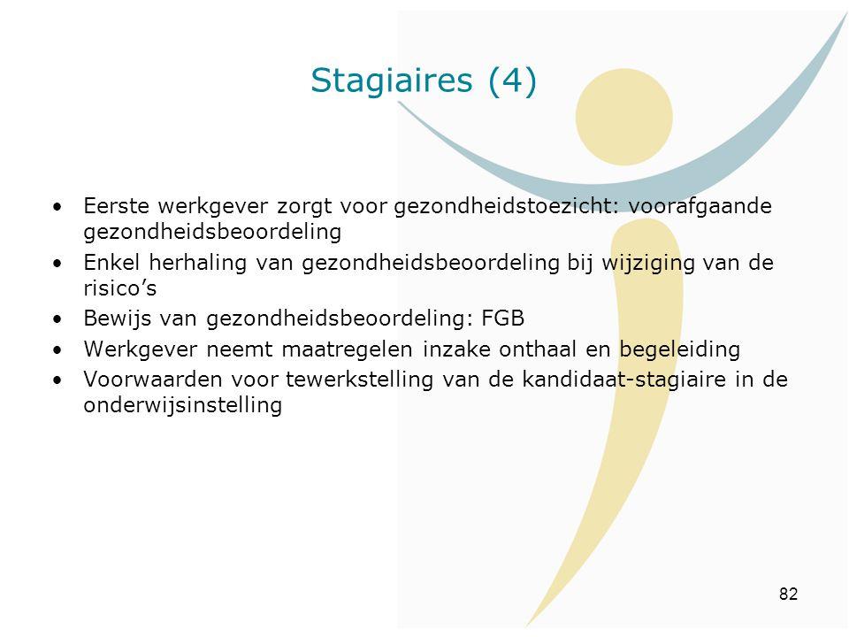 Stagiaires (4) Eerste werkgever zorgt voor gezondheidstoezicht: voorafgaande gezondheidsbeoordeling.