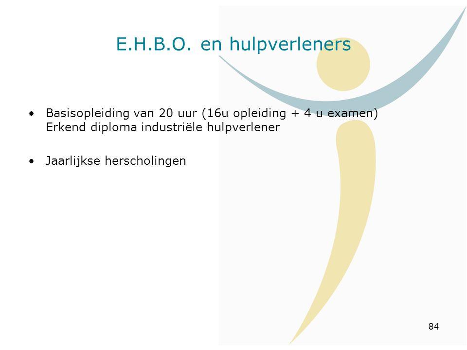E.H.B.O. en hulpverleners Basisopleiding van 20 uur (16u opleiding + 4 u examen) Erkend diploma industriële hulpverlener.