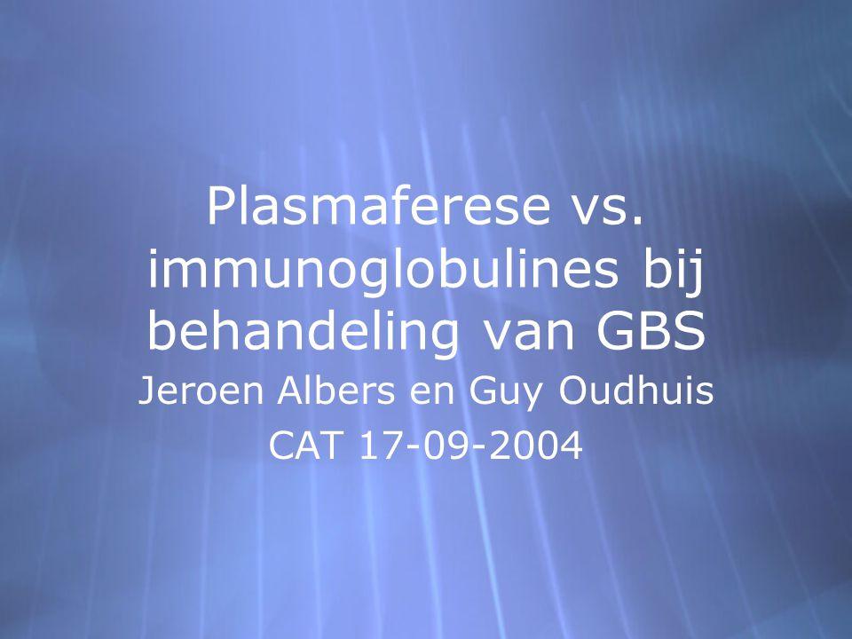 Plasmaferese vs. immunoglobulines bij behandeling van GBS