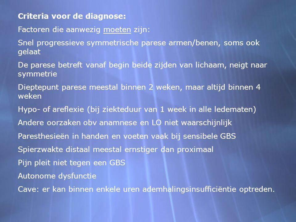 Criteria voor de diagnose: