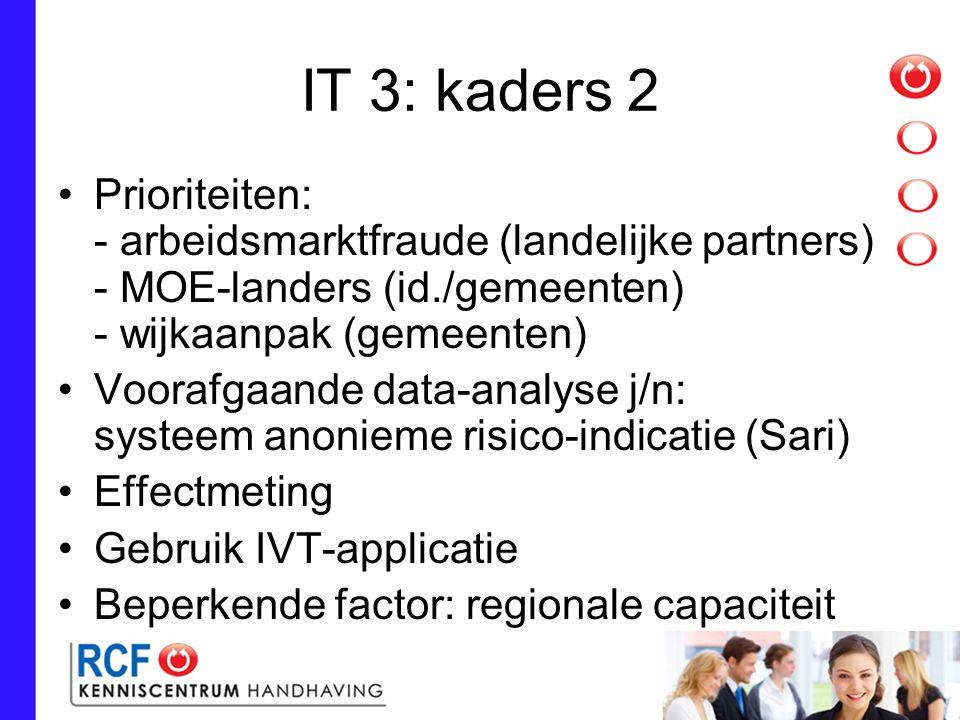 IT 3: kaders 2 Prioriteiten: - arbeidsmarktfraude (landelijke partners) - MOE-landers (id./gemeenten) - wijkaanpak (gemeenten)