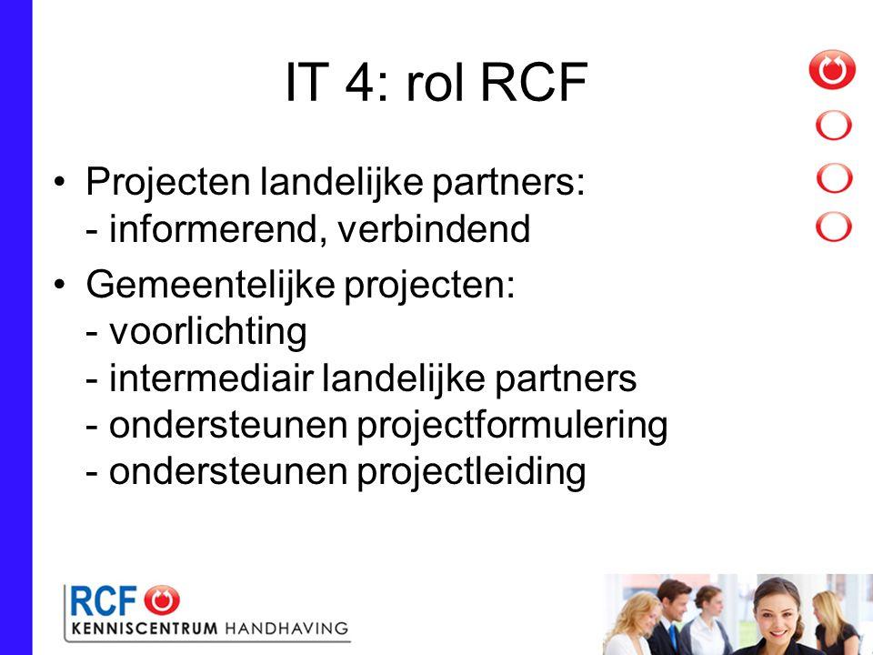 IT 4: rol RCF Projecten landelijke partners: - informerend, verbindend