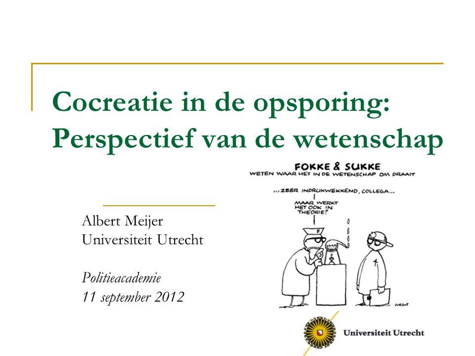 Cocreatie in de opsporing: Perspectief van de wetenschap