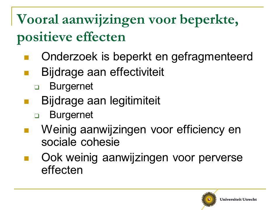 Vooral aanwijzingen voor beperkte, positieve effecten
