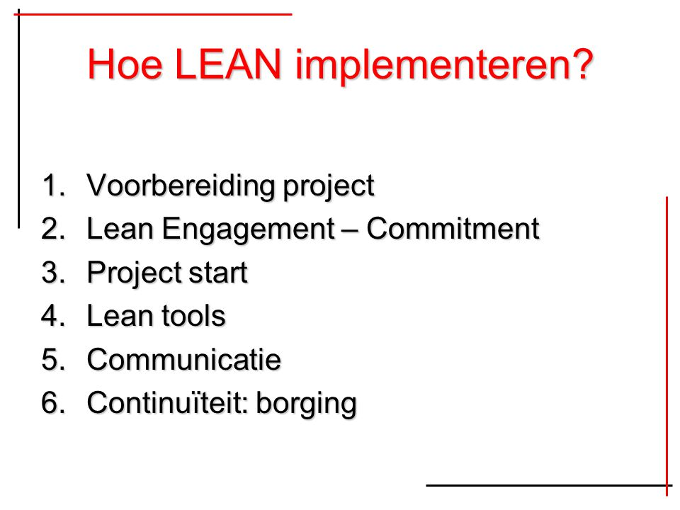 Hoe LEAN implementeren