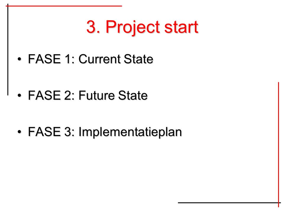 3. Project start FASE 1: Current State FASE 2: Future State