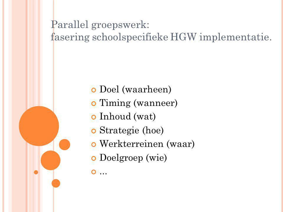 Parallel groepswerk: fasering schoolspecifieke HGW implementatie.