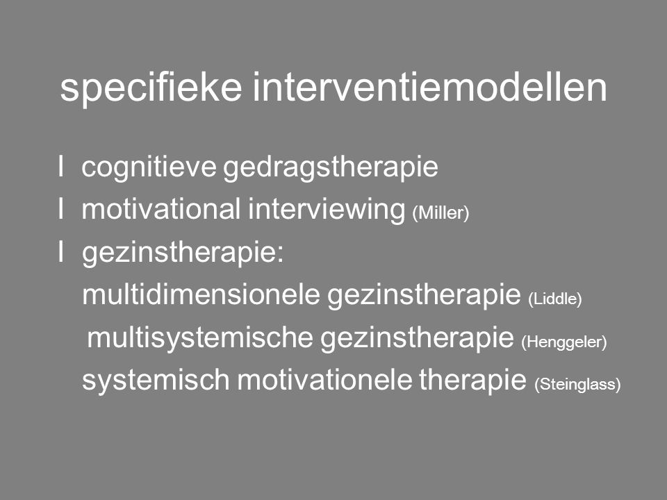 specifieke interventiemodellen
