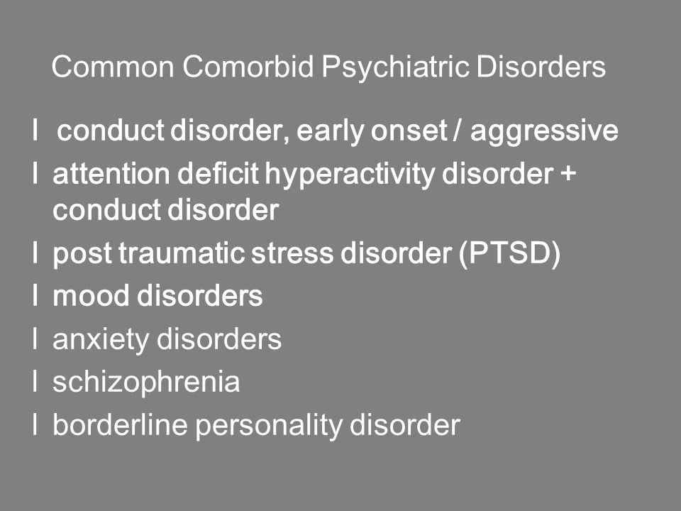Common Comorbid Psychiatric Disorders