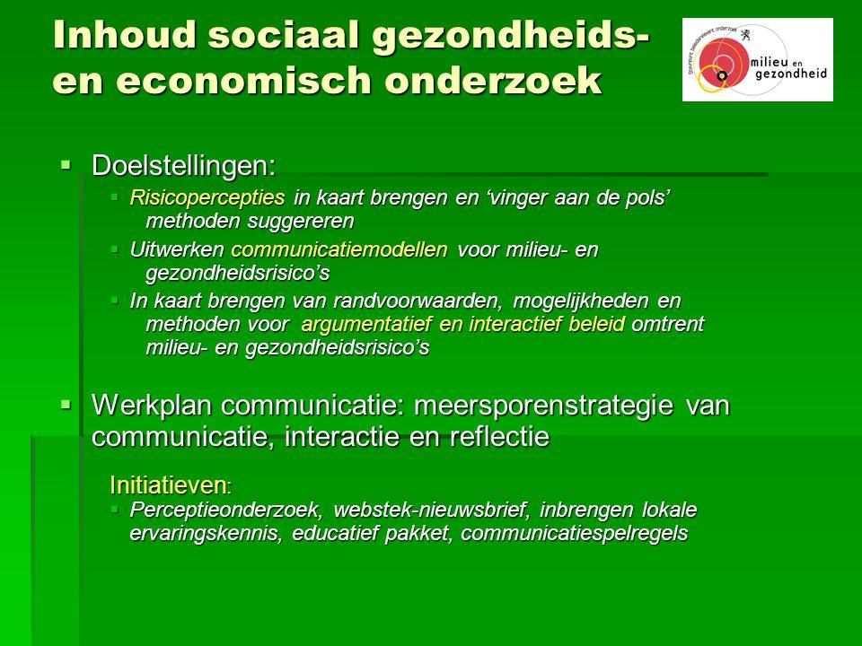 Inhoud sociaal gezondheids- en economisch onderzoek