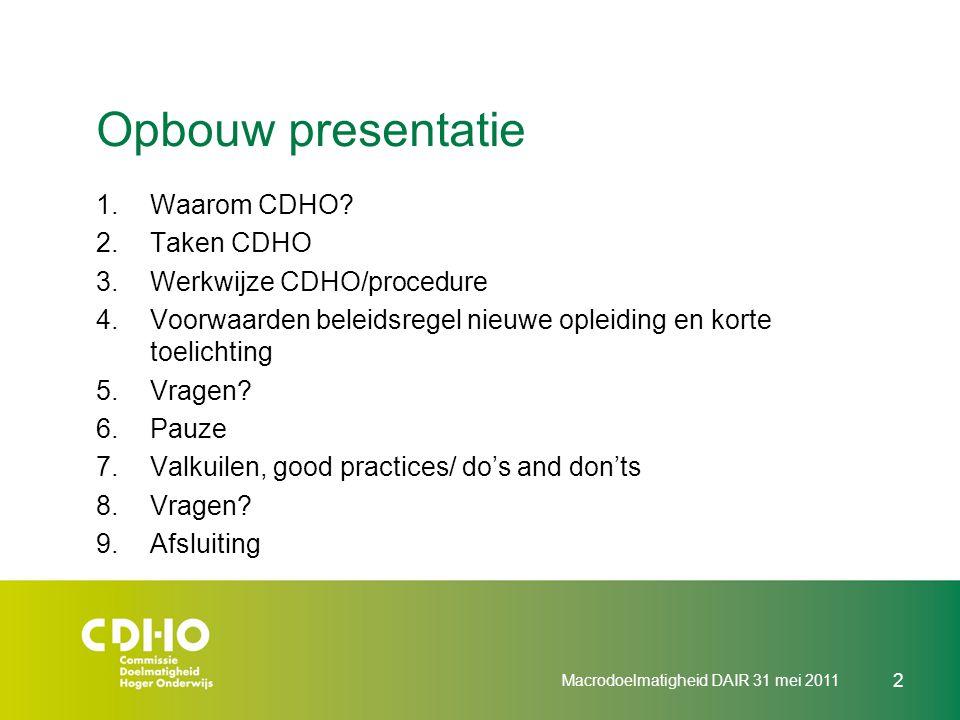 Opbouw presentatie Waarom CDHO Taken CDHO Werkwijze CDHO/procedure