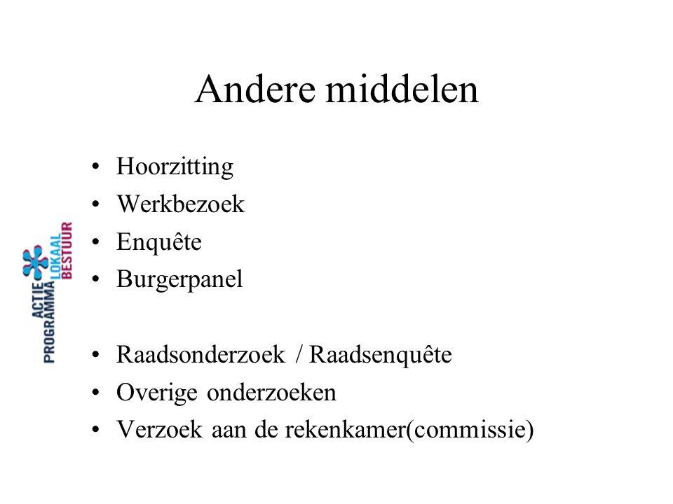 Andere middelen Hoorzitting Werkbezoek Enquête Burgerpanel
