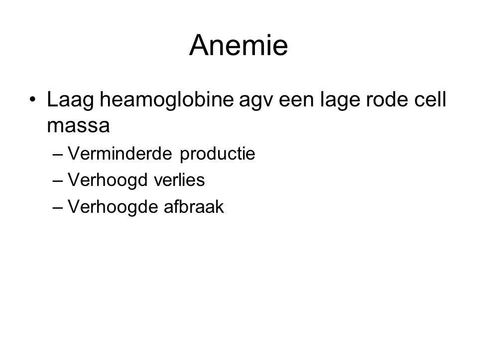 Anemie Laag heamoglobine agv een lage rode cell massa