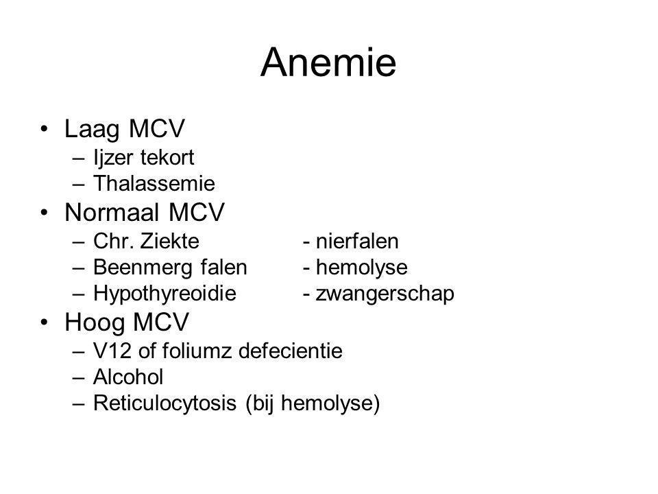 Anemie Laag MCV Normaal MCV Hoog MCV Ijzer tekort Thalassemie