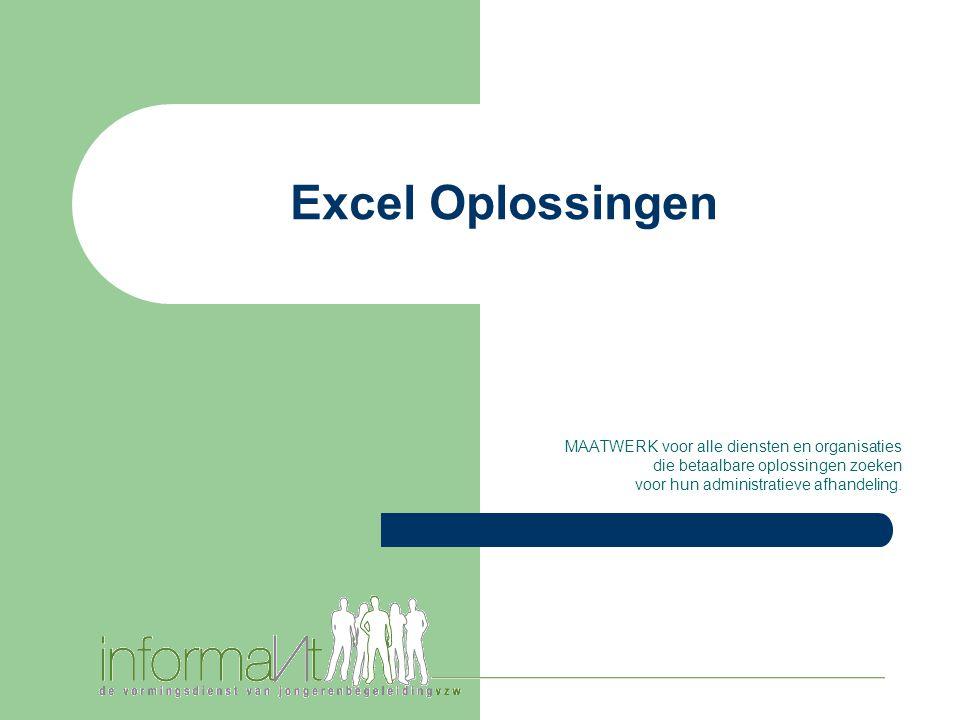 Excel Oplossingen MAATWERK voor alle diensten en organisaties