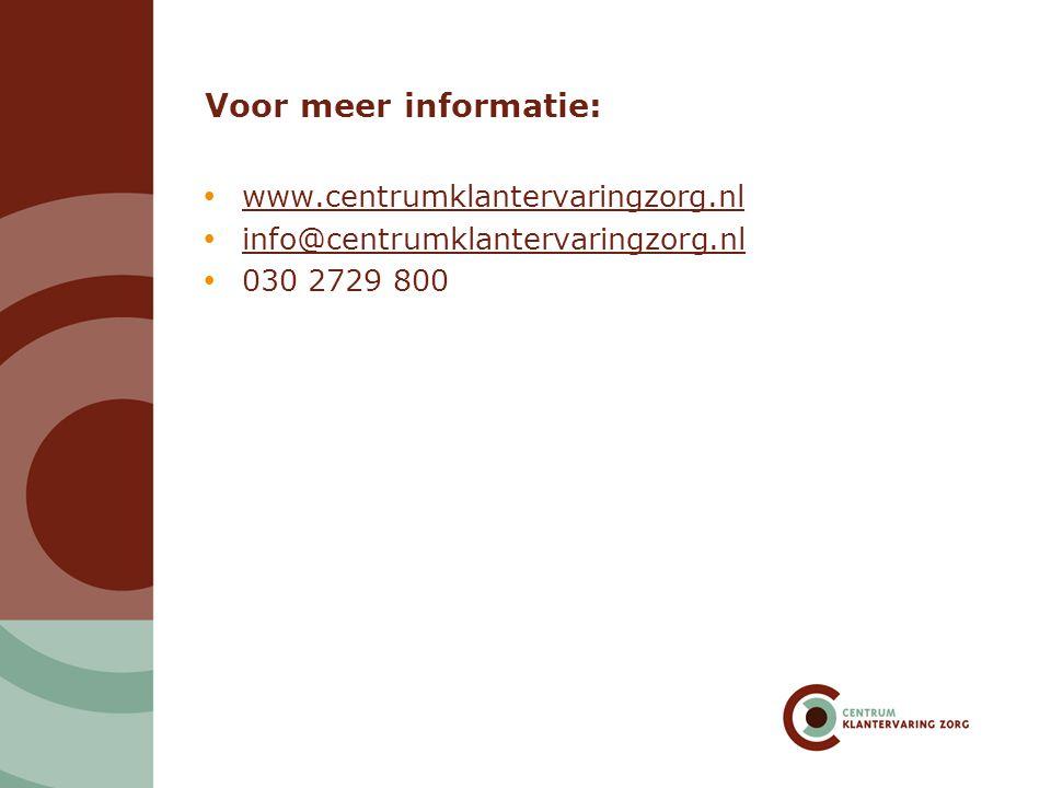 Voor meer informatie: www.centrumklantervaringzorg.nl