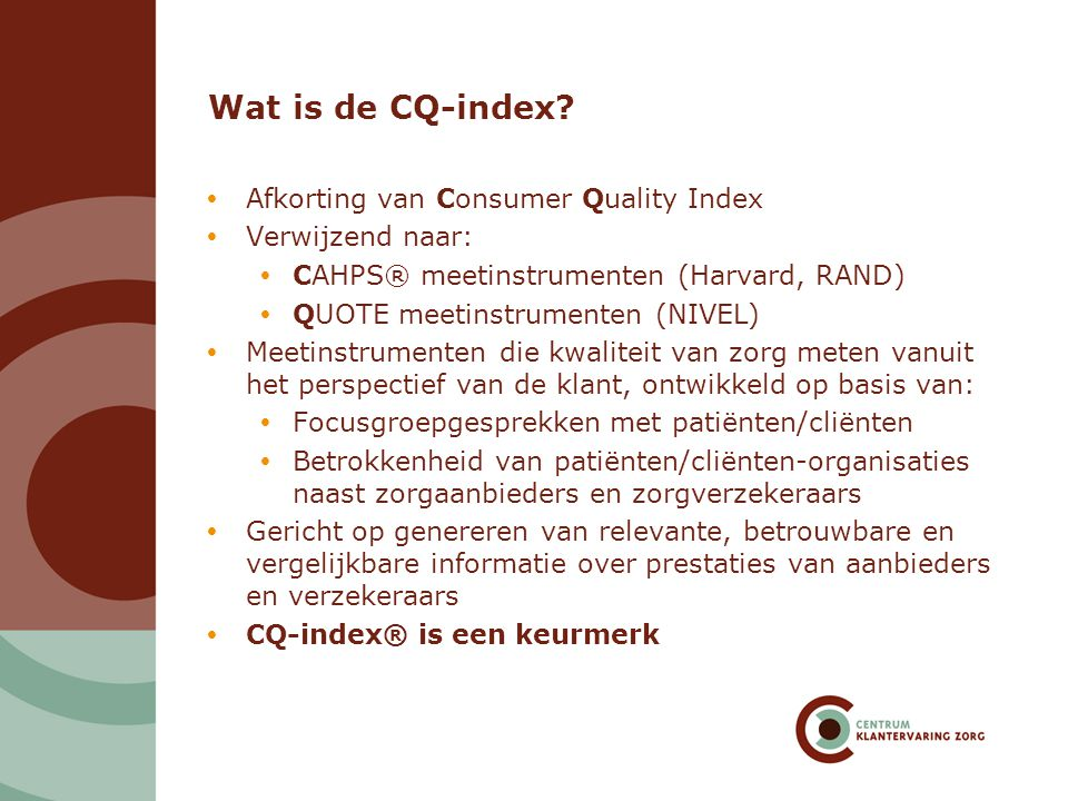 Wat is de CQ-index Afkorting van Consumer Quality Index