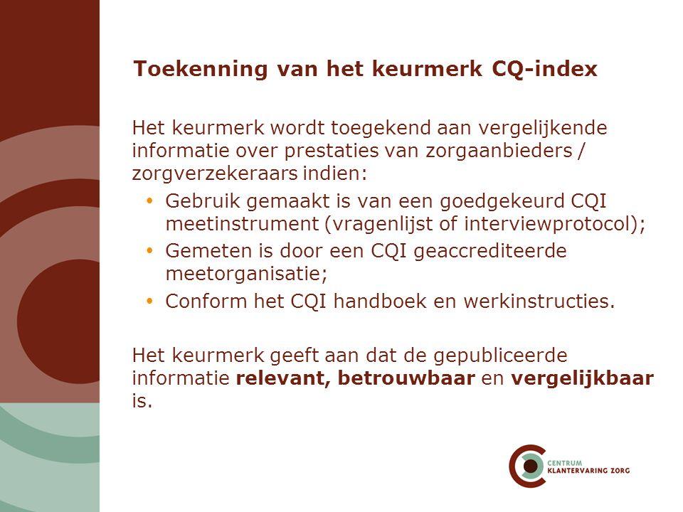 Toekenning van het keurmerk CQ-index