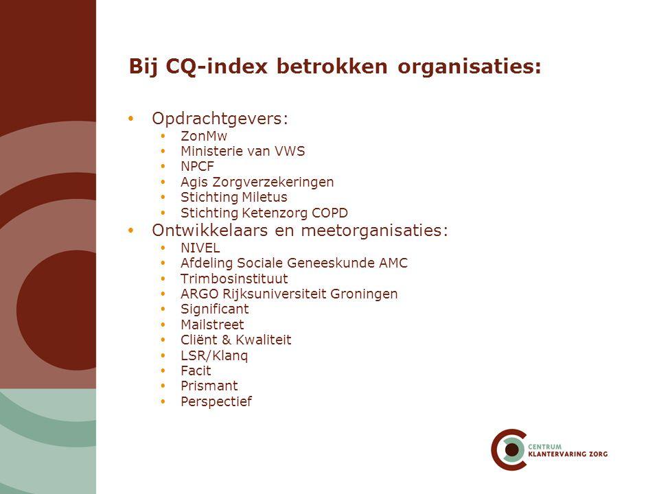 Bij CQ-index betrokken organisaties: