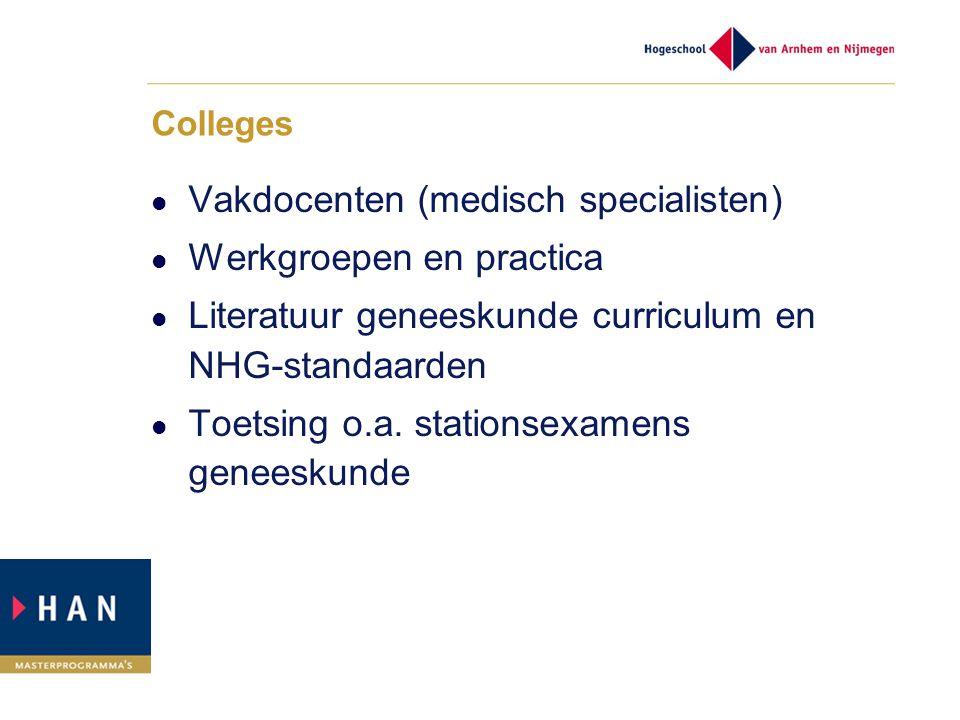 Vakdocenten (medisch specialisten) Werkgroepen en practica