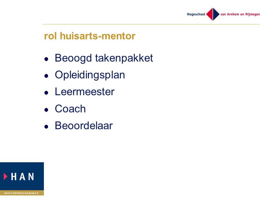 Beoogd takenpakket Opleidingsplan Leermeester Coach Beoordelaar