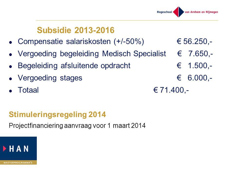 Subsidie 2013-2016 Compensatie salariskosten (+/-50%) € 56.250,-