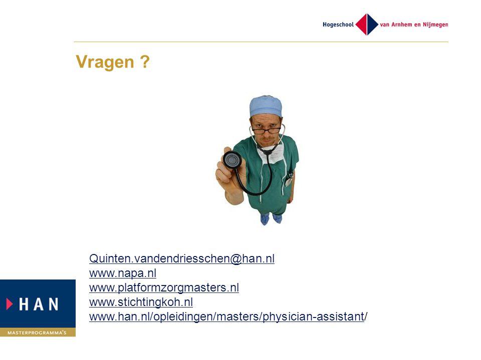 Vragen Quinten.vandendriesschen@han.nl www.napa.nl