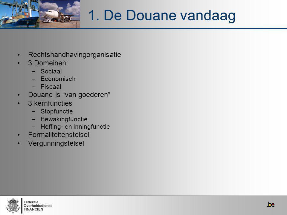 1. De Douane vandaag Rechtshandhavingorganisatie 3 Domeinen: