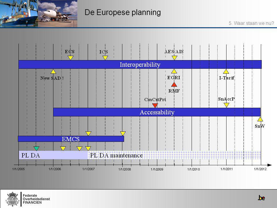 De Europese planning 5. Waar staan we nu