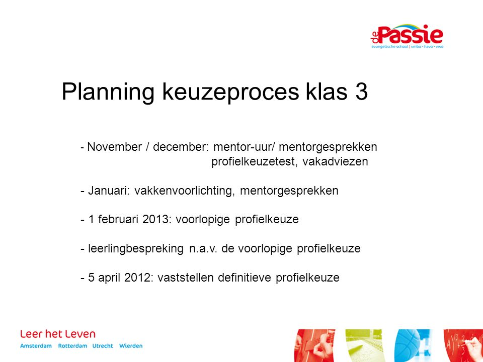 Planning keuzeproces klas 3
