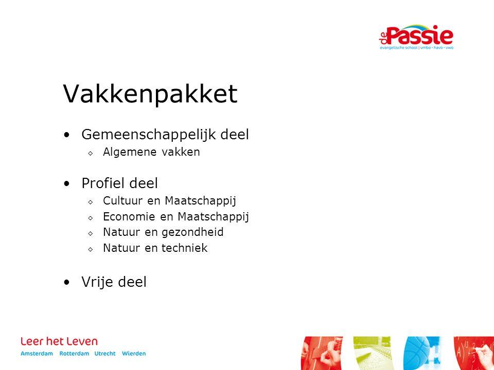 Vakkenpakket Gemeenschappelijk deel Profiel deel Vrije deel