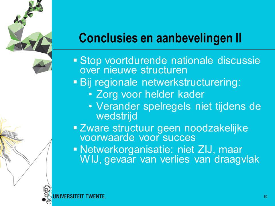Conclusies en aanbevelingen II