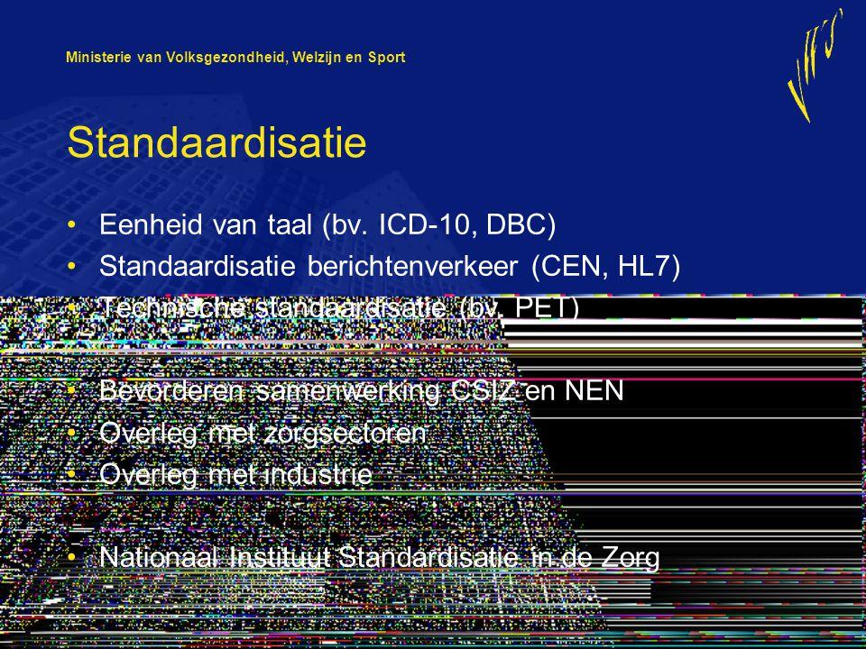 Standaardisatie Eenheid van taal (bv. ICD-10, DBC)