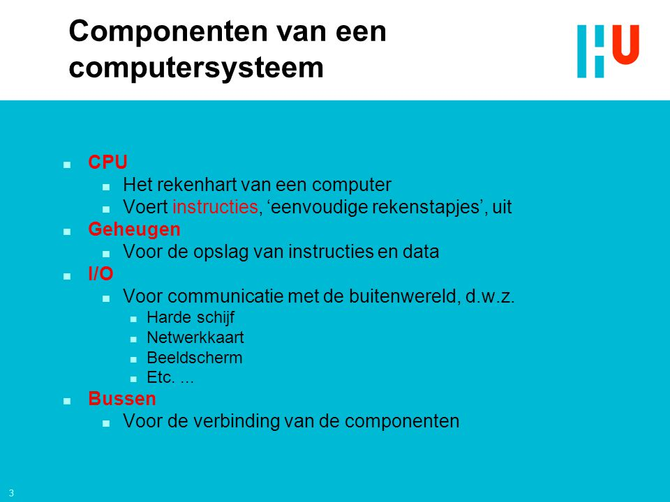 Componenten van een computersysteem
