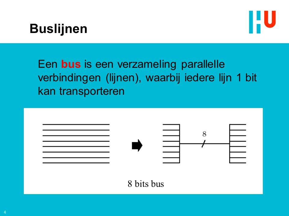 Buslijnen Een bus is een verzameling parallelle verbindingen (lijnen), waarbij iedere lijn 1 bit kan transporteren.