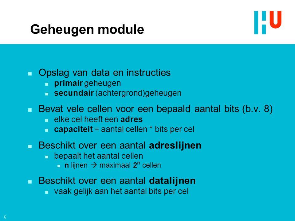 Geheugen module Opslag van data en instructies